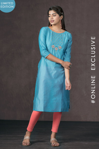 Elegant Yoke Embroidered Kurta - Blue