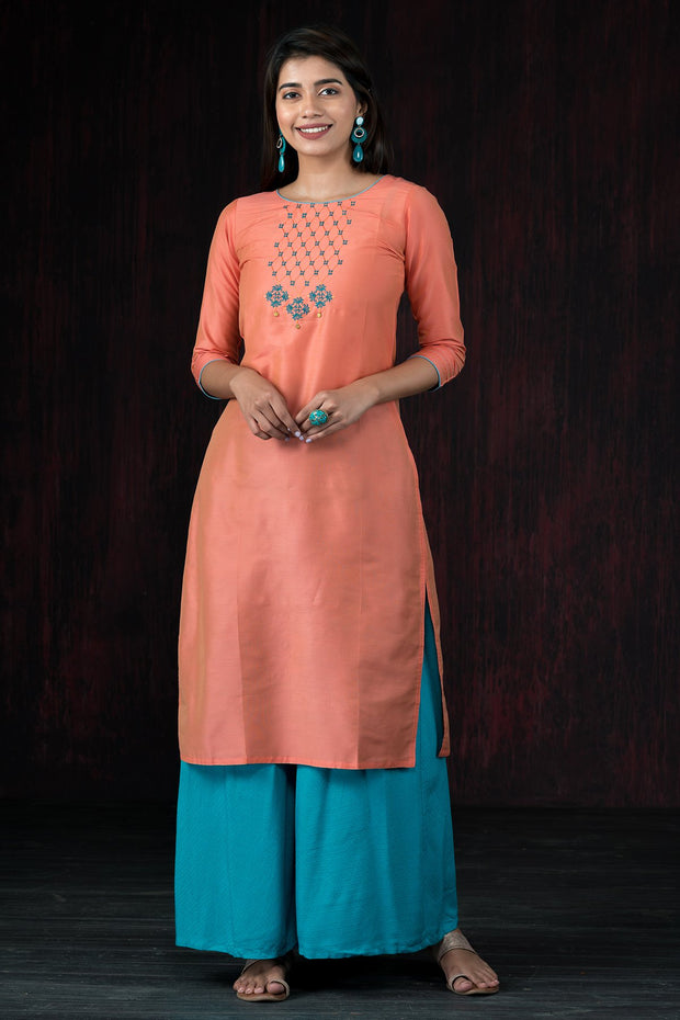 Elegant Yoke Embroidered Kurta - Peach
