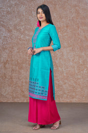 Contemporary Ethnic Motif Printed Kurta - Blue