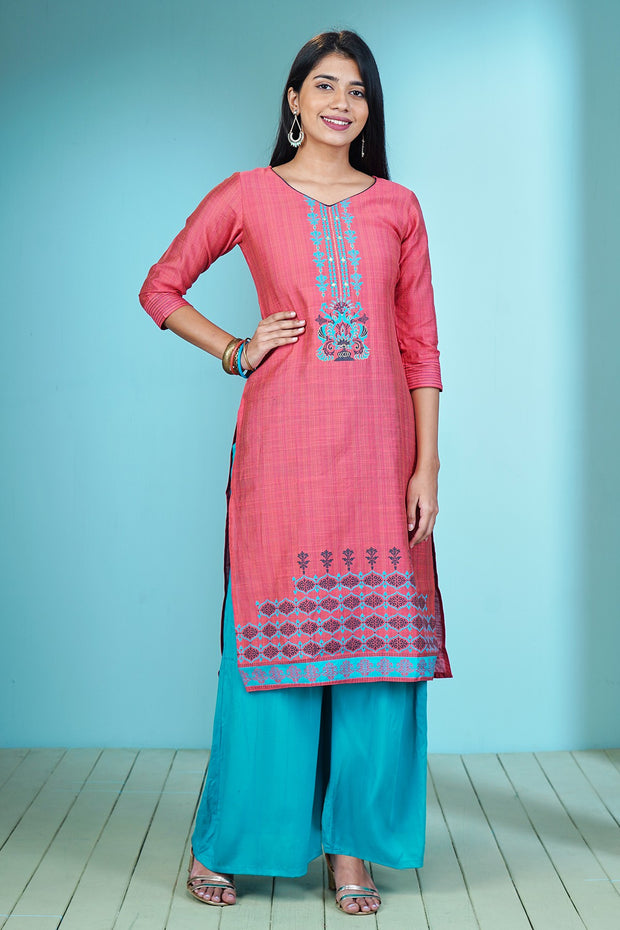 Contemporary Ethnic Motif Printed Kurta - Pink