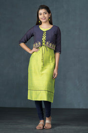 Elegant Embroidered Jacket Overlay Kurta - Lime Green