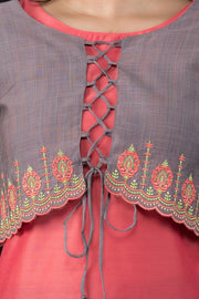 Elegant Embroidered Jacket Overlay Kurta - Pink