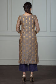 Brocade Kurta With Embroidery - Grey - Maybell Womens Fashion