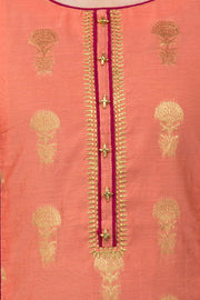 Brocade Kurta With Embroidery - coral - Maybell Womens Fashion