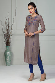 Printed Kurta With Slit Sleeve - Grey - Maybell Womens Fashion