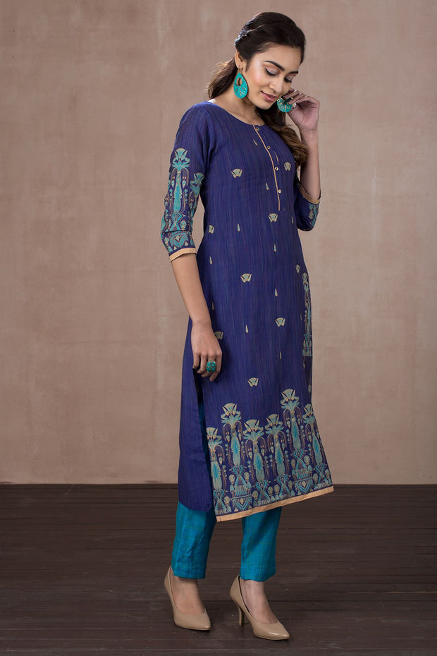 Placement Print Kurta With Golden Border - Dark Blue - Maybell Womens Fashion