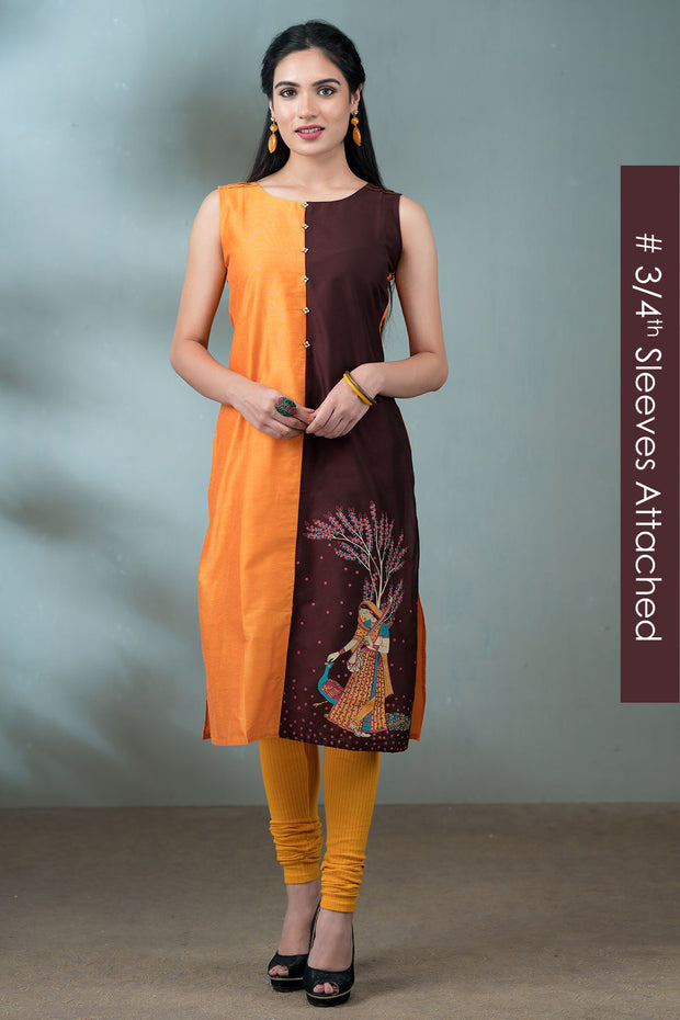 Mughal Inspired Placement Printed Paneled Kurta - Mustard & Burgundy