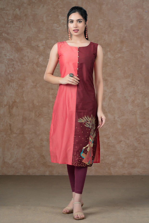Mughal Inspired Placement Printed Paneled Kurta - Pink & Maroon