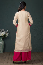 Elegant Embroidery Kurta - Beige - Maybell Womens Fashion