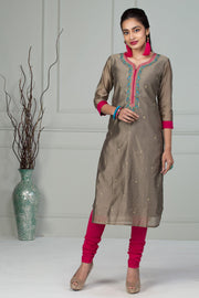 Elegant Embroidery Kurta - Grey - Maybell Womens Fashion