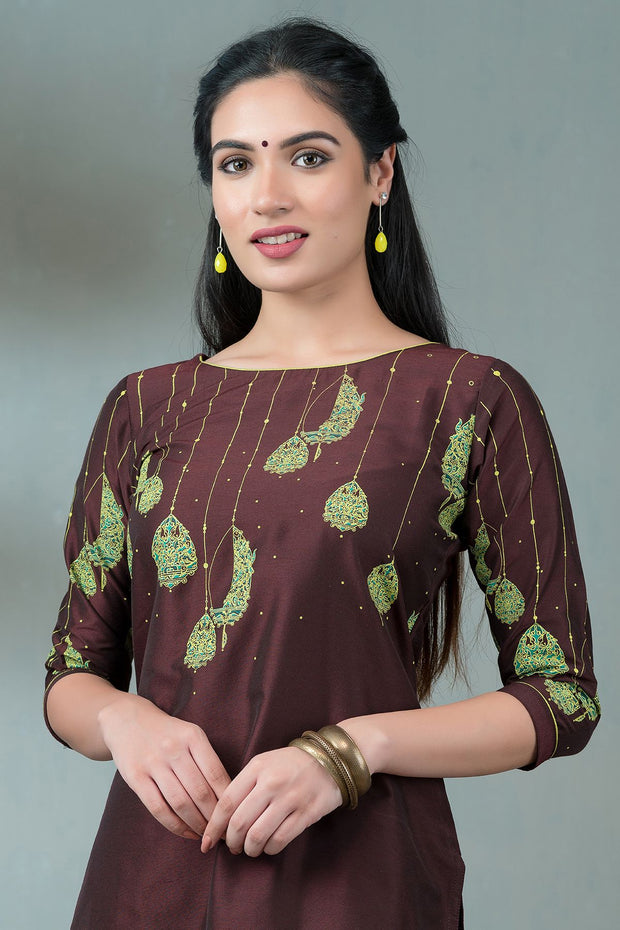 Placement Lantern Printed Kurta - Burgundy
