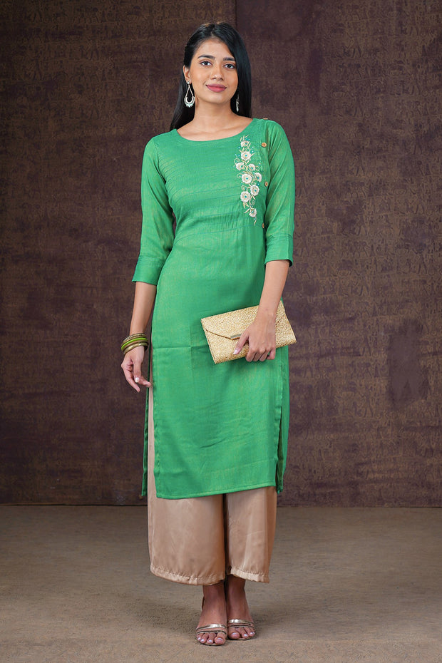 Elegant Placement Floral Embroidered Kurta - Green