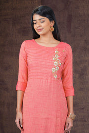 Elegant Placement Floral Embroidered Kurta - Pink