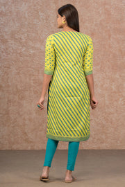 Regimental Stripes & Placement Embroidered Kurta - Light Green
