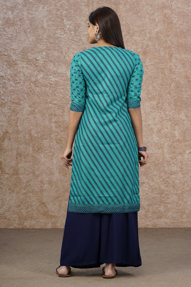 Regimental Stripes & Placement Embroidered Kurta - Sea Green
