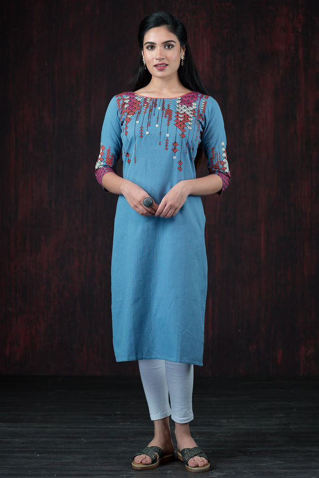 Abstract Geometric Placement Printed Kurta - Blue