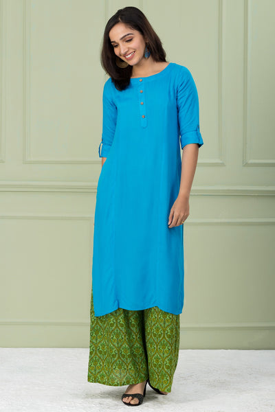 Light Blue Relax Fit Plain Kurta - Maybell Womens Fashion