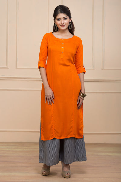 Orange Relax Fit Plain Kurta - Maybell Womens Fashion