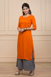 Relax Fit Solid Kurta- Orange - Maybell Womens Fashion