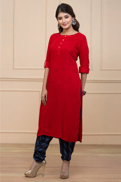 Red Relax Fit Plain Kurta - Maybell Womens Fashion