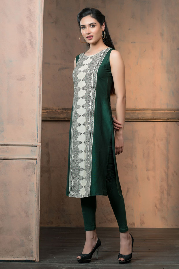 Centre placement print kurta - Green