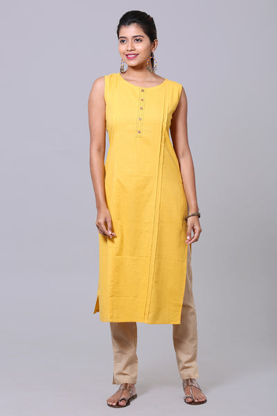 Side Pin tuck Solid color Kurta - Yellow - Maybell Womens Fashion