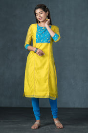 Dragon Flies Yoke Printed Kurta - Yellow
