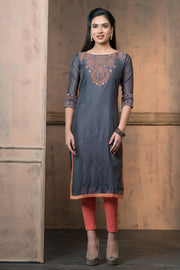 Contemporary paisley printed kurta with mirror embroidery - Grey