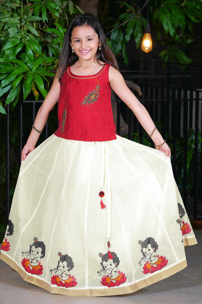 Peacock Feather Embroidered Top and Lotus Krishna Printed Kids Skirt Set