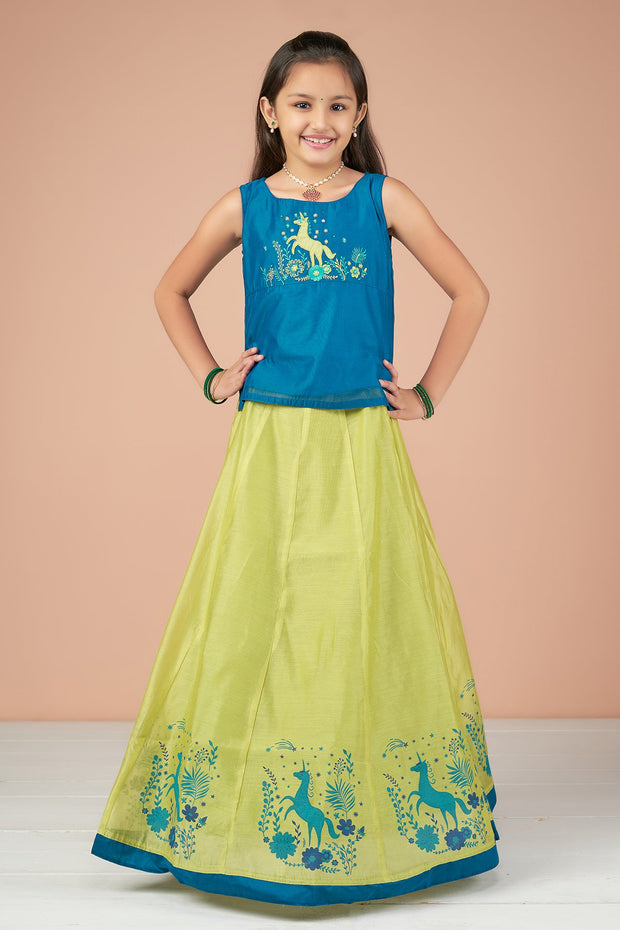 Garden Unicorn Embroidered Top & Placement Printed Kids Skirt Set - Blue & Lime