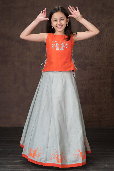 Beautiful rabbit embroidered top & printed kids skirt set - Orange & Grey.