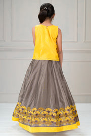 Beautiful embroidered top with printed kids skirt set - Yellow and Grey