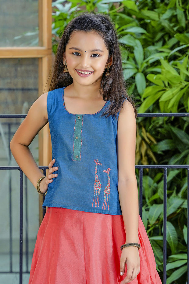 Giraffe Placement Embroidered Top & Printed Kids Skirt Set - Blue & Peach