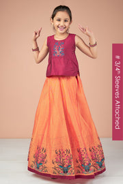 Abstract Deer Embroidered Top & Placement Printed Kids Skirt Set - Maroon & Orange