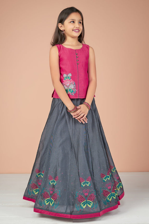 Butterfly Placement Embroidered Top & Printed Skirt Set - Pink & Grey