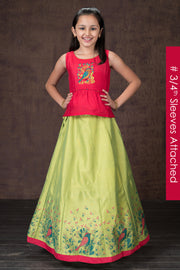 Beautiful bird embroiderd top & printed kids skirt set - Pink & Lime Green