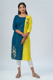 Maybell-Floral printed and honeybee embroidered kurta -Green and blue-2