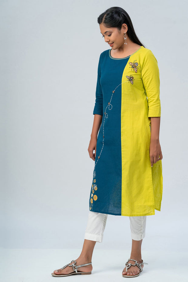 Maybell-Floral printed and honeybee embroidered kurta -Green and blue-5