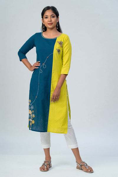 Maybell-Floral printed and honeybee embroidered kurta -Green and blue-1