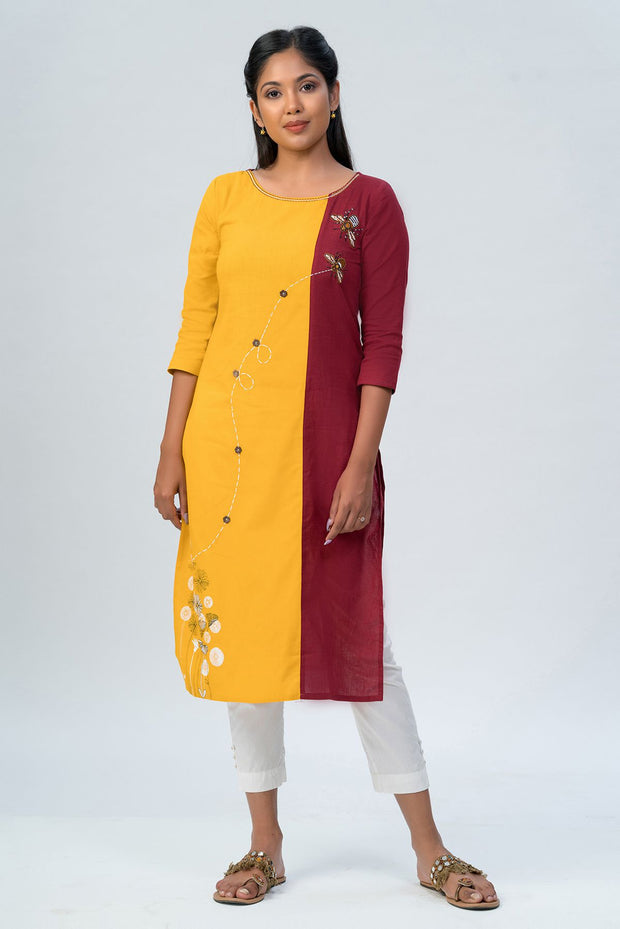 Maybell-Floral printed and honeybee embroidered kurta -Mustard and maroon-3