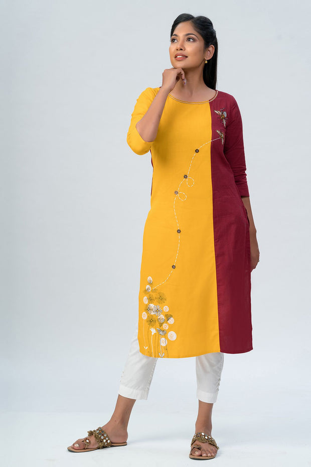 Maybell-Floral printed and honeybee embroidered kurta -Mustard and maroon