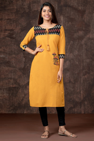 Ikkat Yoke & Mushroom Embroidered Kurta - Yellow