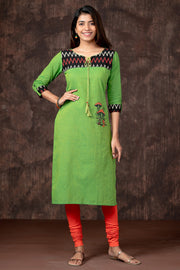 Ikkat Yoke & Mushroom Embroidered Kurta - Green