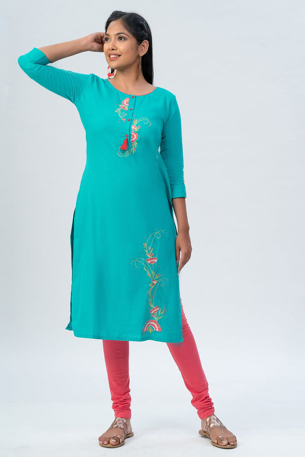 Maybell-Floral embroidered kurta -Green-6
