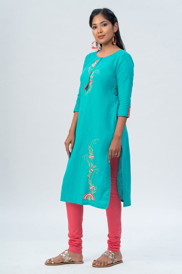 Maybell-Floral embroidered kurta -Green