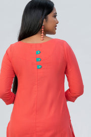 Maybell-Floral embroidered kurta - Peach-5