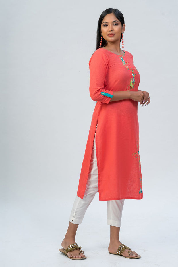 Maybell-Floral embroidered kurta - Peach-2