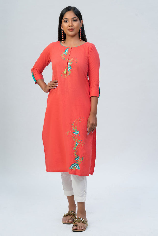 Maybell-Floral embroidered kurta - Peach-3