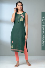 Maybell-Lotus Swan Printed Kurta - Green