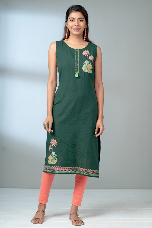 Lotus Swan Printed Kurta - Green